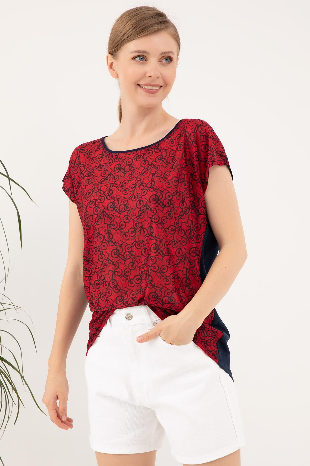 Sıfır Yaka Desenli T-shirt-41035188564