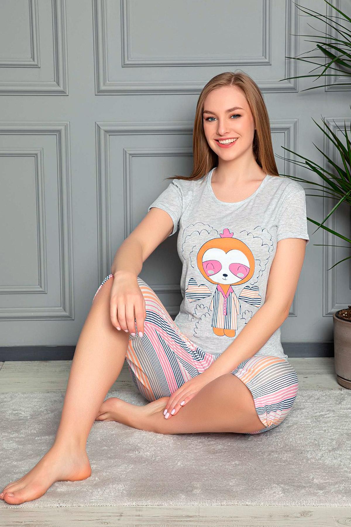 Baskılı Kapri Pijama Takımı-41035193977