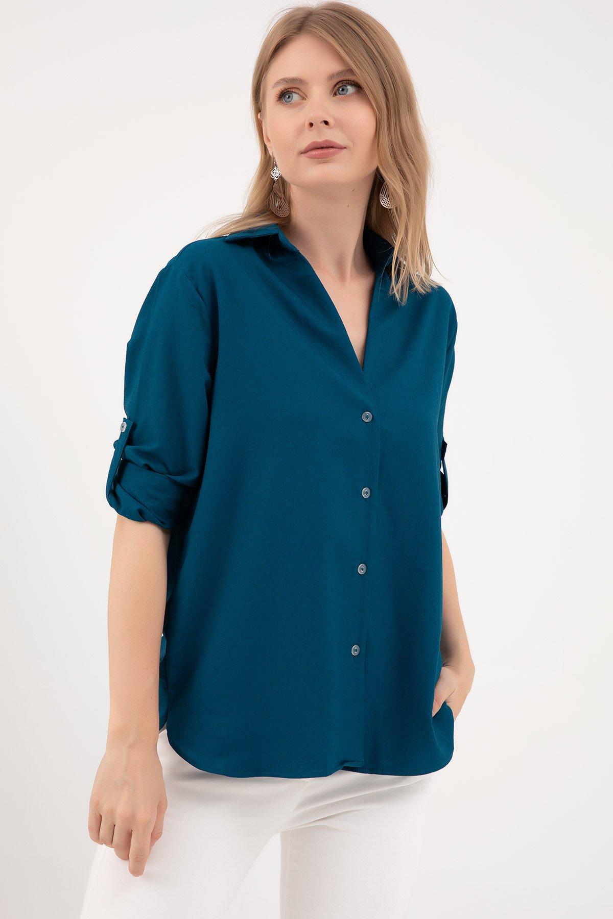 V Yaka Baskılı Gömlek-41035198140