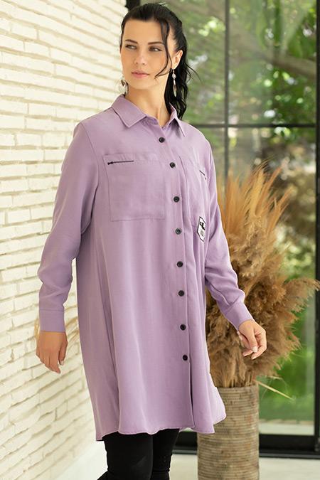 Gömlek Yaka Cepli Tunik-41035180093