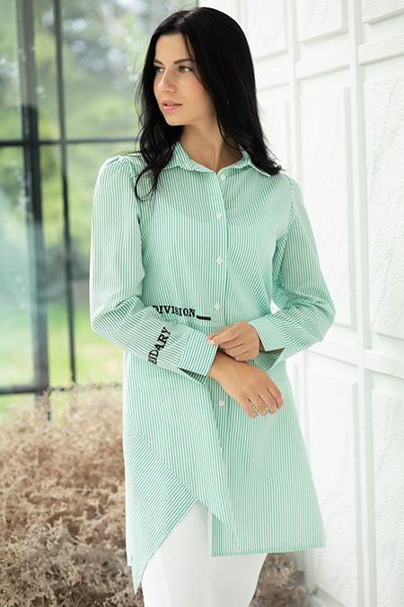 Çizgili Gömlek Yaka Tunik-41035180423