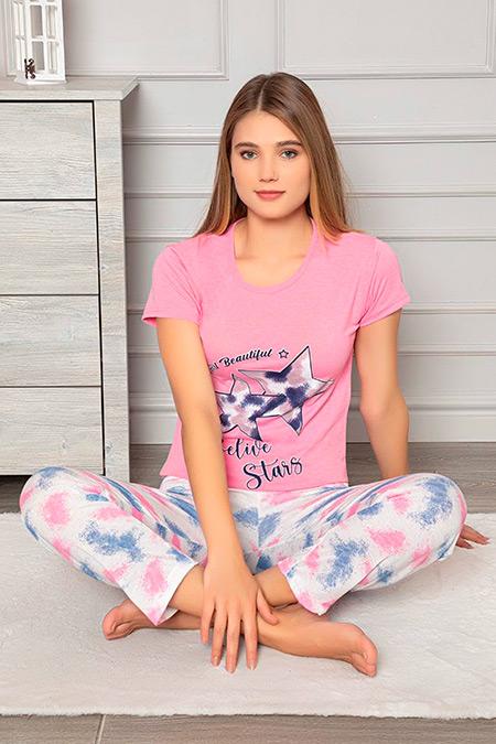 Baskılı Kısa Kol Pijama Takımı-41035198296
