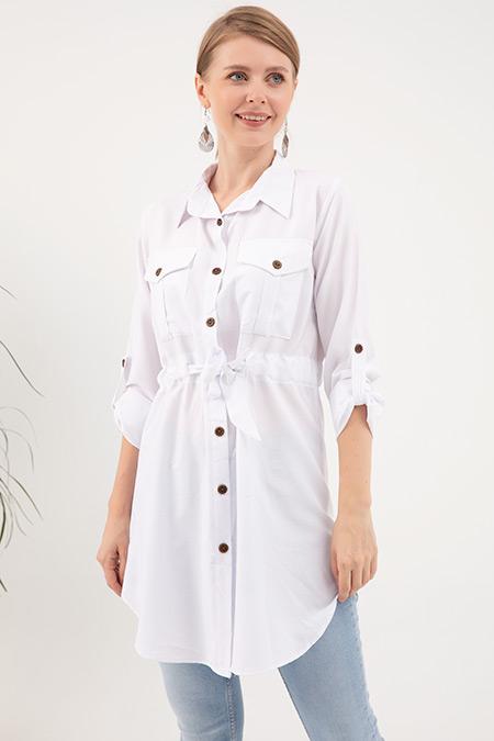 Kuşaklı Gömlek Yaka Tunik-41035199612