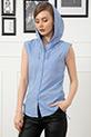 Kolsuz Kapşonlu Gömlek / Mavi