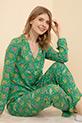 Çiçek Desenli Pijama Takımı / Yeşil