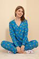 Çiçek Desenli Pijama Takımı / Mavi