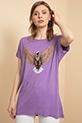 Baskılı Sıfır Yaka T-shirt / Mor