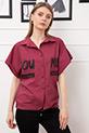 Baskılı Altı İpli Kısa Gömlek / GülKurusu