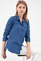 Sahte Cepli Düğmeli Gömlek / İndigo