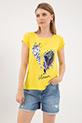 Baskılı Sıfır Yaka T-shirt / Sarı
