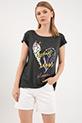 Baskılı Sıfır Yaka T-shirt / KoyuYeşil