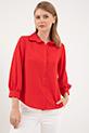 Yakalı Düğmeli Gömlek / Kırmızı
