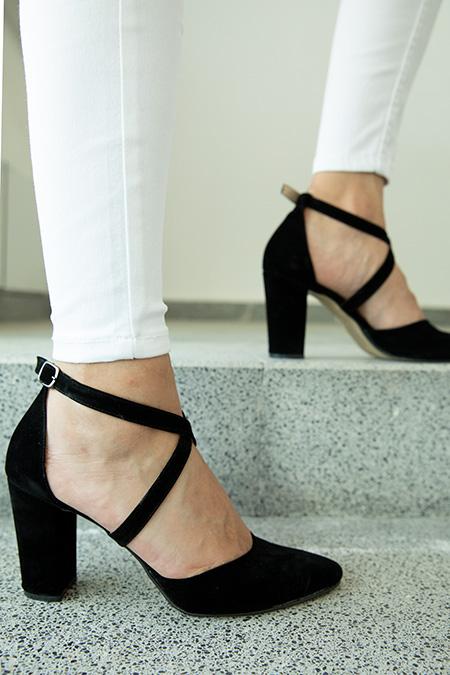 Capraz Baglamalı Süet Yüksek Topuklu Ayakkabı-P-017624