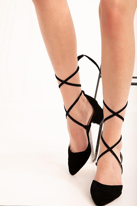 Baglamalı Süet Alcak Topuklu Ayakkabı_SIYAH