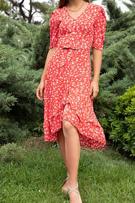 Cicek Desenli Kemerli Elbise_
