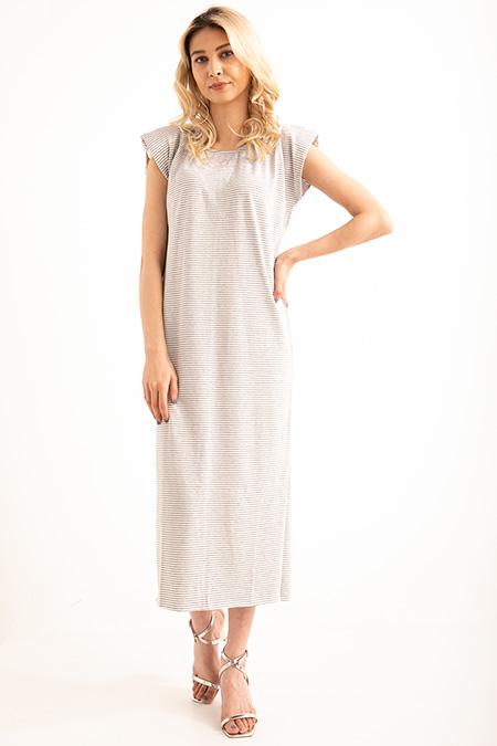 Omuz Vatkalı Cızgılı Yan Yırtmaclı Elbise-P-018862