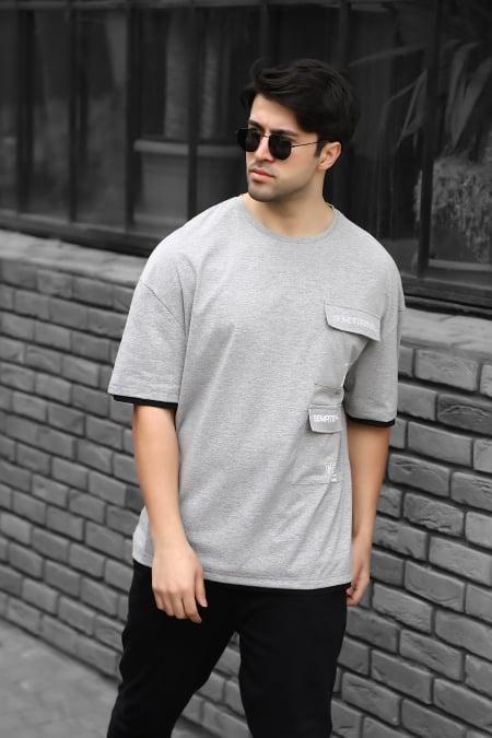 Çift Cepli Baskılı Oversize T-shirt AC-Y36018LNS-414326602